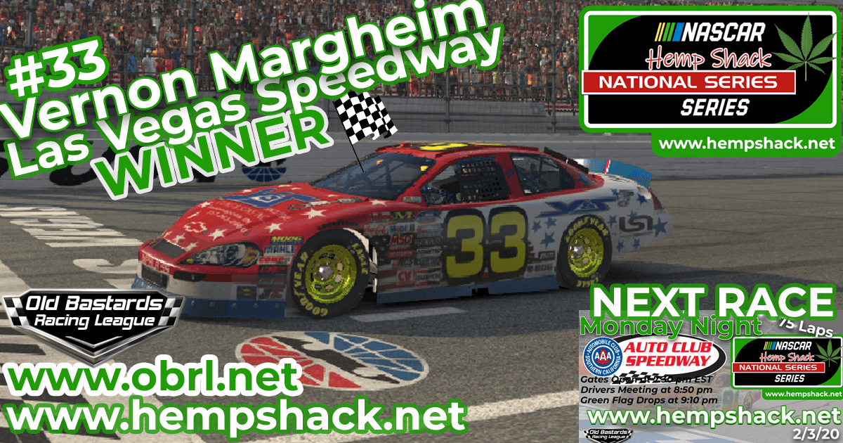 Vernon Margheim #33 Wins Nascar ARCA Hemp Shack CBD Race at Las Vegas Speedway!