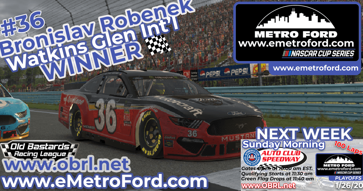 🏁 Bronislav Robenek #36 Wins Nascar Metro Ford Chicago Cup Race at Watkins Glen Int'l!