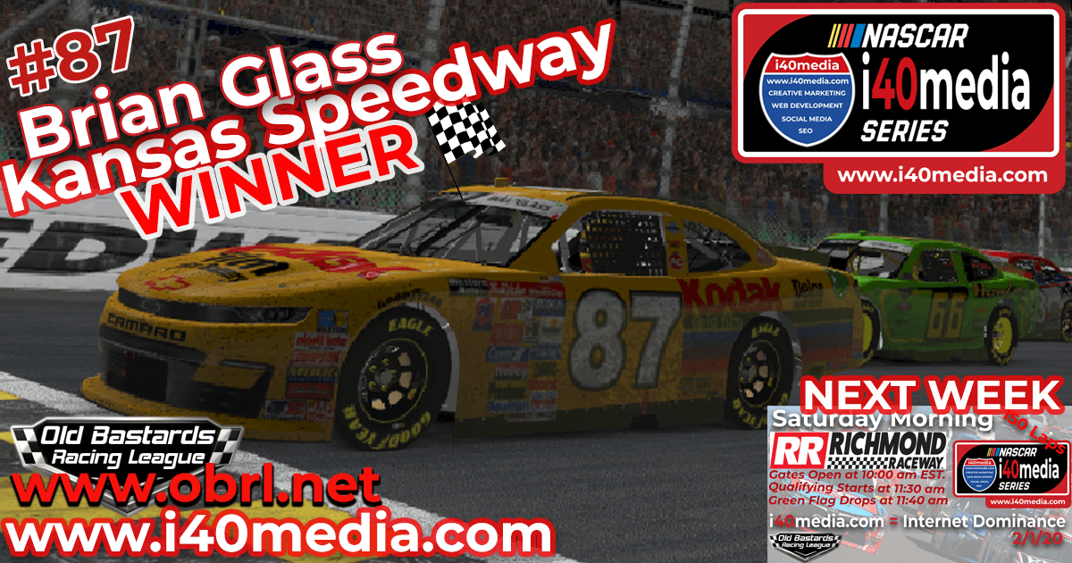 "🏁Brian ""The Bull"" Glass #87 Wins Nascar i40media Grand National Xfinity Race at the Kansas Speedway!"