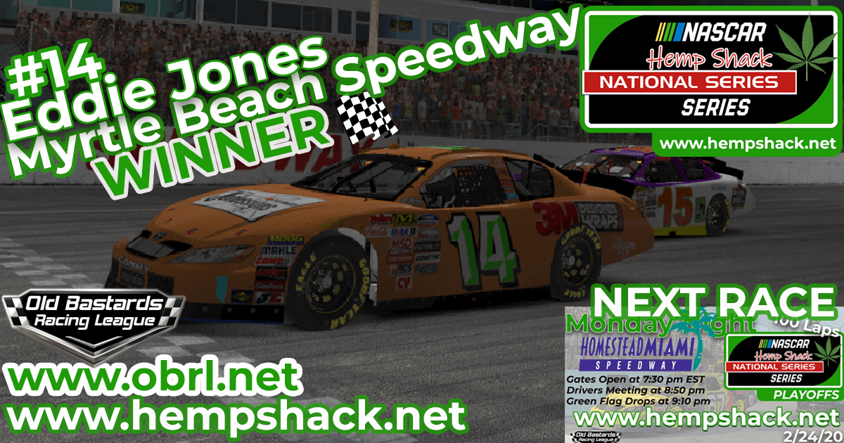 Eddie Jones #14 Wins Nascar ARCA Hemp Shack CBD Race at Myrtle Beach Speedway!