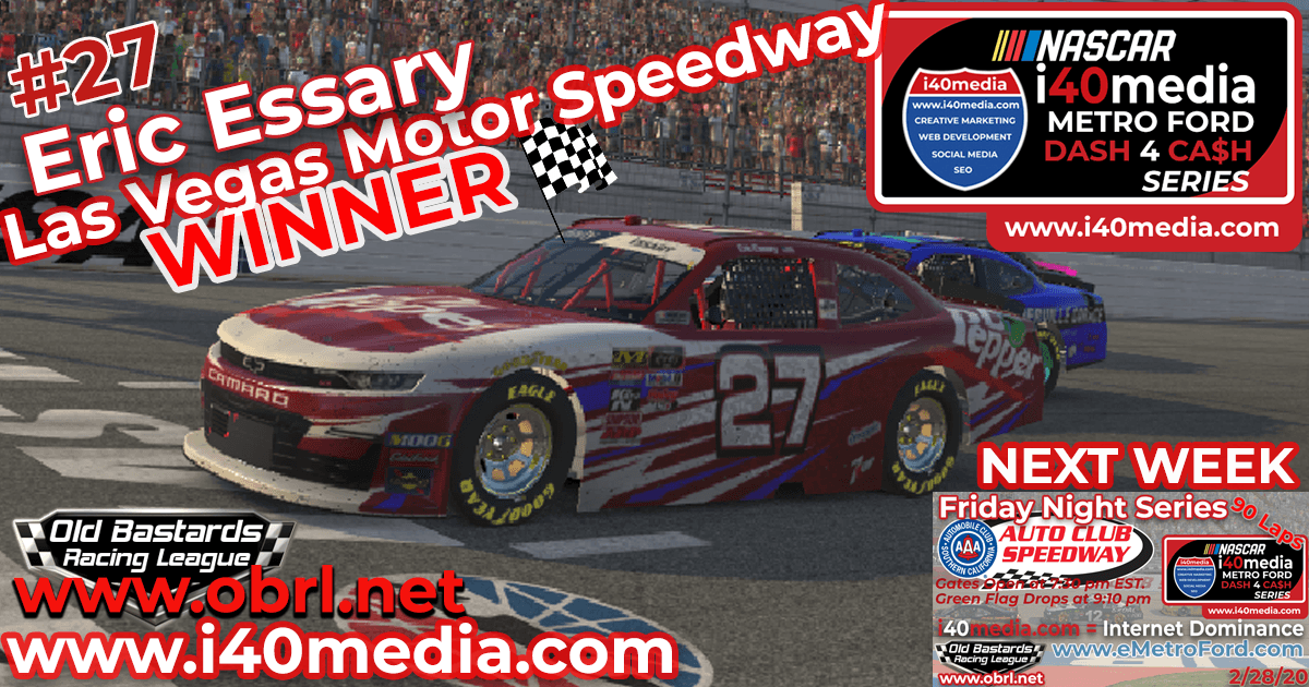 Eric Essary #27 Wins Nascar i40media Metro Ford Chicago Grand National Race at Las Vegas!