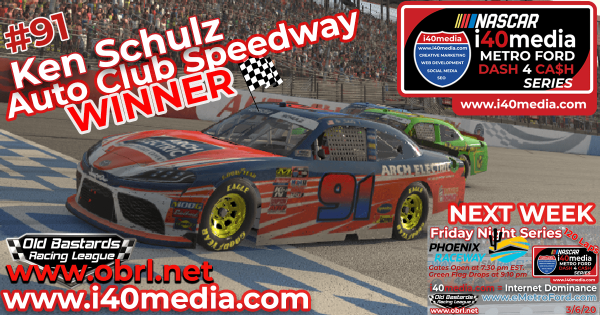 Ken Schulz #91 Wins Nascar i40media Metro Ford Chicago Grand National Race at Auto Club!